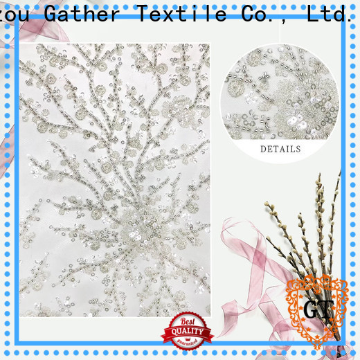 GT gold sequin embroidery fabric company for promotion