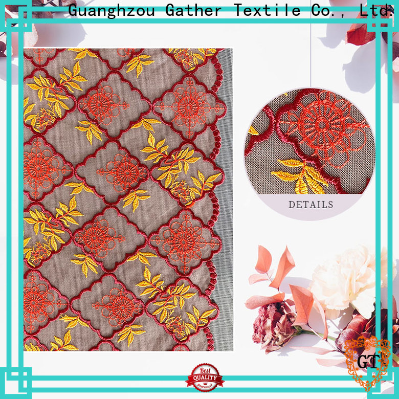 GT embroidered lace fabric for sale Supply on sale