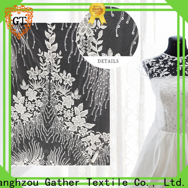 GT Custom embroidered lace fabric by the yard for business for sale