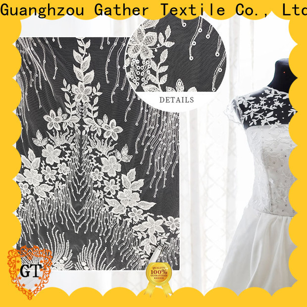 Custom white bridal lace fabric company for sale