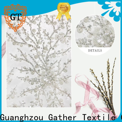 GT Best gold sequin embroidery fabric factory bulk production