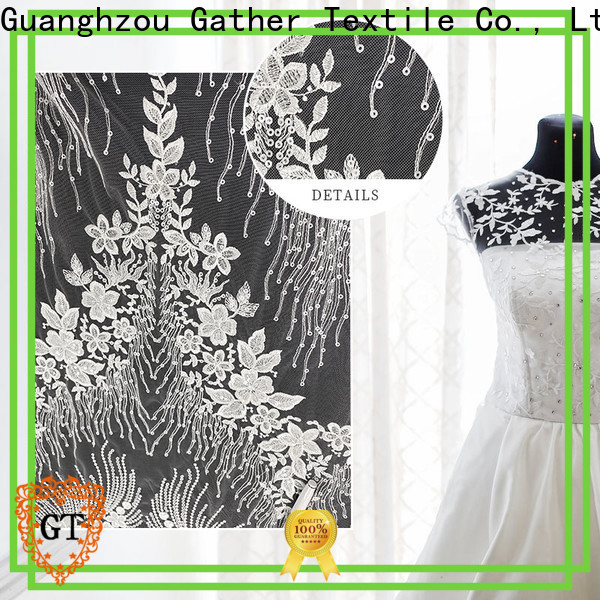 Latest satin lace fabric factory on sale