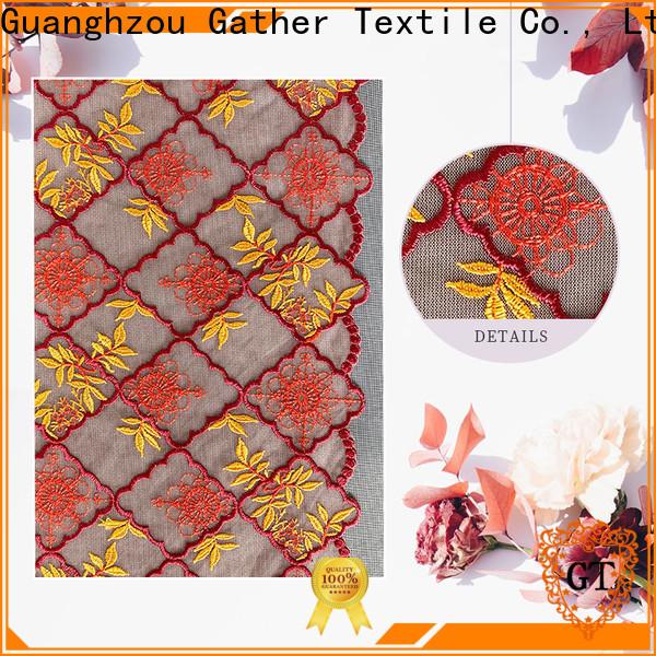 Custom navy cotton lace fabric company bulk production