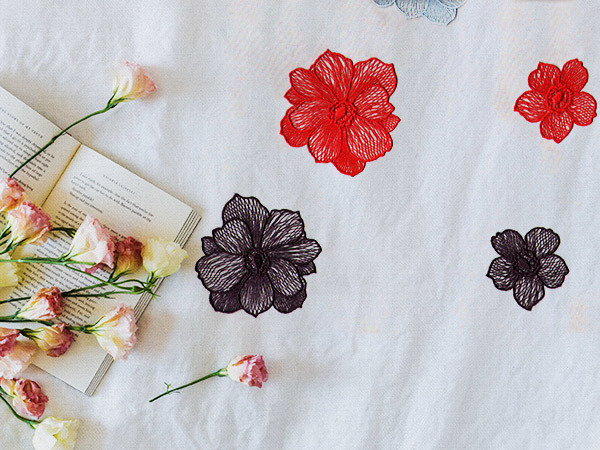 Flower Motif Embroidery Lace Fabric