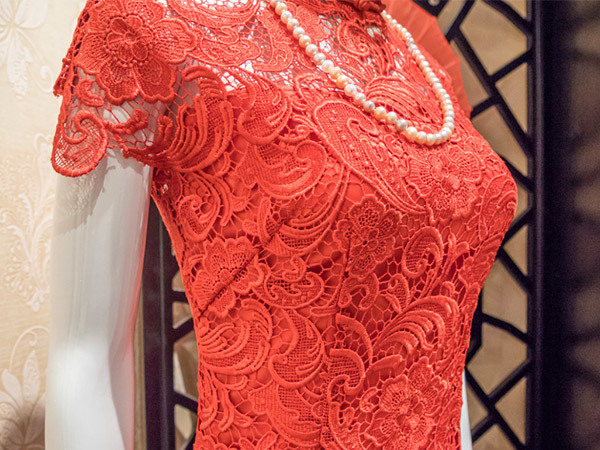 Red Allover Motif  Embroidery Lace Fabric